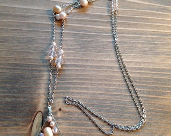 Pink and Pearl Tear Drop Wire Wrap Necklace