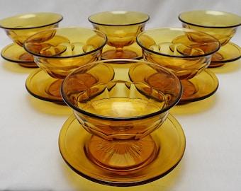 Davidson Amber Grapefruit Bowls and Saucers - Set of 6
