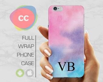 iPhone 7 Case - Custom Personalised Initials Blue Phone Case - iPhone 8 Case - iPhone X Case - iPhone 6, 5S - Samsung S6, S7, S8 - PC-310