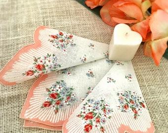 Vintage Handkerchief, Scalloped Peach Hanky, Wedding, Brides Hanky, Something Old, Bridesmaids Gift, Bouquet Hanky