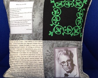 """Literary Ireland Cushions  ~ W.B. Yeats poetry ~ The Cloths of Heaven ~ When you are old ~ 14"""" Scatter cushion with  Celtic embroidery panel"""