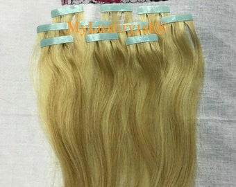 10 pieces Ash Blonde Bleach Blonde Remy Tape Human Hair Extensions 25g 17-18 inches