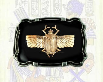 Scarab Egyptian Beetle Belt Buckle Inlaid in Hand Painted Black Enamel Custom Colors Available