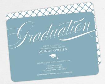 Graduation Invitation, Graduation Announcement, Printable Invitation, Invitation PDF, DIY Graduation, Printed, Modern, Script, Blue, Quincy