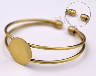 5pcs/Lot Bezel Bracelet Blank-Adjustable Bangle-Blank Bracelet Cuff with 18mm glue pad-Bracelet Tray 18mm Setting-round bezel cuff bracelet