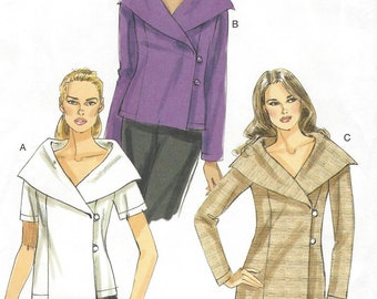 Womens Top or Tunic with Portrait Collar Wrap Closing Sleeve Variations OOP Vogue Sewing Pattern V8770 Size 8 10 12 14 16 Bust 31 1/2 to 38
