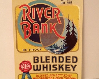 ON SALE Vintage River Bank Blended Whiskey Label -- new old stock -- Boston Massachusetts MA Liquor Ephemera