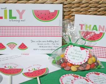 Sweet Watermelon Invitation, Party Banner, Cupcake Toppers, Favor Tags, Notes