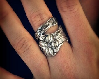 Silver Tiger Lily Ring, Sterling Silver Spoon Ring, Stargazer Lily, Frontenac Victorian Era Floral Ring, Gift For Her, Custom Ring Size 5916