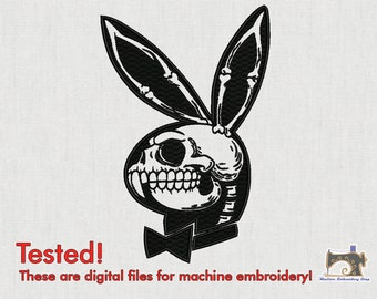 Playboy skull Digital Machine embroidery design for instant download