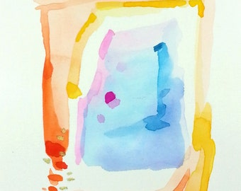 Small Original Watercolor, 5×7 Mini Painting, Small Abstract Art, Abstract Watercolor Painting,