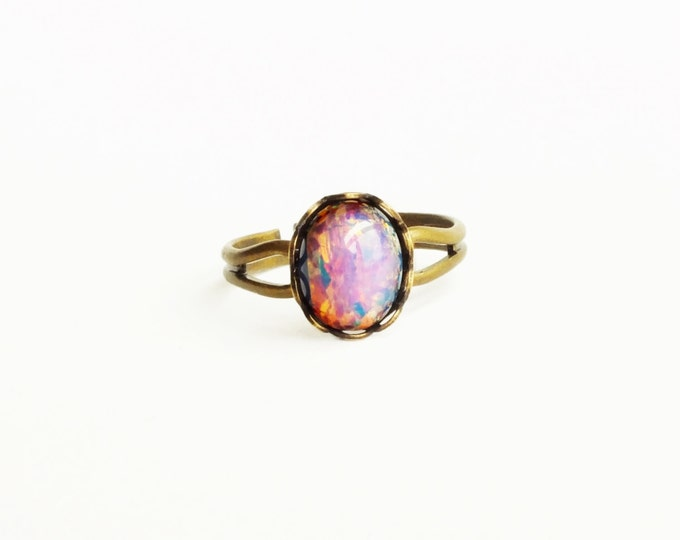 Small Opal Ring Vintage Pink Glass Harlequin Fire Opal Antique Brass Adjustable Victorian Jewelry