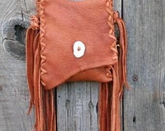 Simple crossbody phone bag, Small crossbody handbag, Small crossbody leather purse, Fringed leather hanbag, Leather phone case