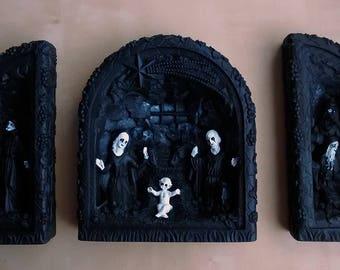Unholy Trinity Black Metal triptych Dark Art Nativity