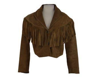 1980s Fringe Jacket, 80s Brown Suede Fringe Jacket, Boho Cropped Jacket, Leather Jacket, Suede Coat, Boho Fringe Jacket, Large XL 12/14/16