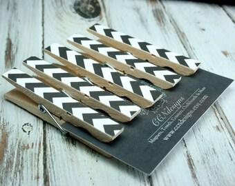 Black Chevron Clothespin Magnets, Set of 5