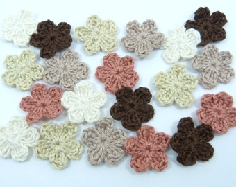 Crochet applique, Crochet flowers, 20 small applique flowers cardmaking, scrapbooking, appliques, craft embellishments, sewing accessories