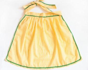 Vintage Yellow Checkered Apron, Green Edge Gingham 1950s Half Apron, Farmhouse Style Decor
