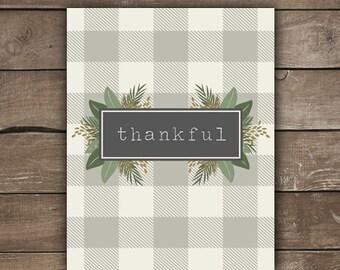 Thankful Print, Wall Print, Farmhouse Style, Grateful Thankful Blessed