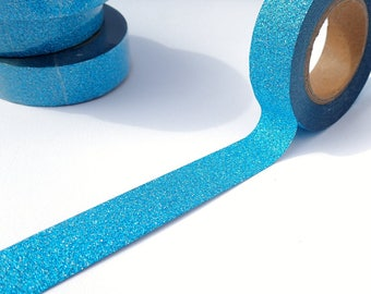 Glitter Washi Tape in Turquoise Blue- Paper Tape Great for Scrapbooking Paper Crafts  15mm x 10m
