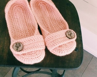 Womens crochet slippers - button slippers - coral peach crochet shoes - wooden button