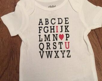 Alphabet with I love you