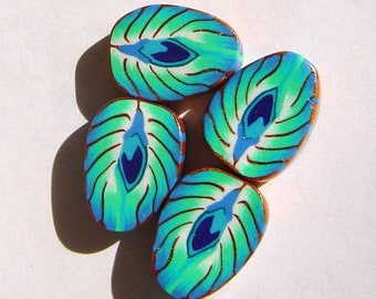 Peacock Feather Turquoise Blue Handmade Artisan Polymer Clay Beads