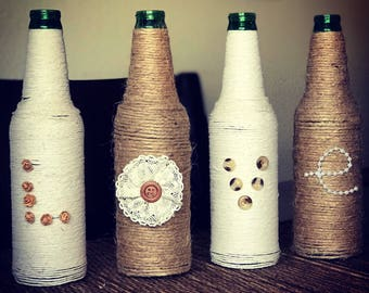 Love- 4x twine wrapped and decorated bottles