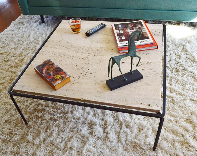 Vintage 1950's MCM Minimalistic Iron Floating Travertine Wrought Iron Base Coffee Cocktail Table (Attrib) Reilly Wolff