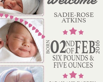 Newborn Baby Thank You Card Girl / Boy x 20