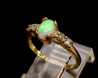 Opal & Diamond Engagement Ring. Yellow, White, Rose Gold or S.S. Top Gem Grade Australian opal Triplet, Or  White or Black Ethiopian opal.