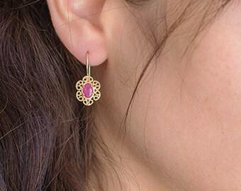 9k or 14k gold Earrings, Vintage Art Nouveau Earrings, Ruby Earrings, July Birthstones, Gift Jewelry Earrings For Women, Free Shipping