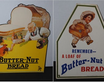 2 Vintage ca. 1930s Butter-Nut Bread Cardboard Advertising Signs - Little Baker  Holding Loaf & Storekeeper w/ Sliced Bread Images