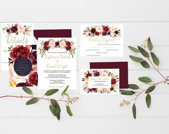 wedding invitations Printable wedding invitations Wedding suite marsala wedding invitation suite wedding invitation set Wedding Stationery