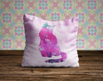Watercolor Cat Pillow, Cat Pillow Case, Cat Pillow Cover, Cat Throw Pillow, Animal Pillow Case, Cat Cushion Cover, Cat Lover Gift, Bedding