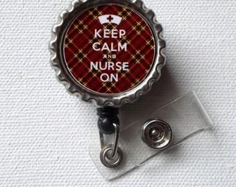 Keep Calm and Nurse On - Brown and Gold Tartan - ID Badge Holder - Badge Reel - Mens Badge Holder - Nurse ID Badge Clip