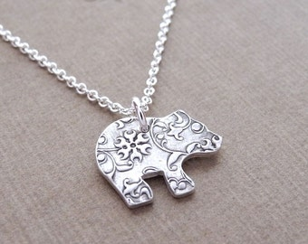 Tiny Bear Cub Necklace, Flowering Vine Grizzly Bear Cub, Flowered, Fine Silver, Sterling Silver Chain, Made To Order