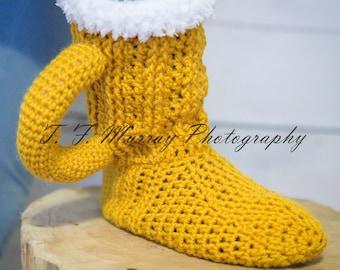 Boozie Boots! Crochet Beer Mug slipper boots.