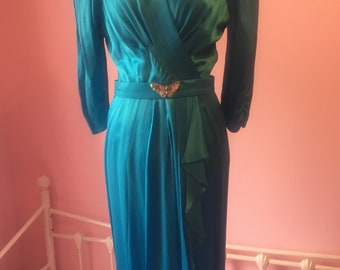 Your sixth sense vintage blue silky dress