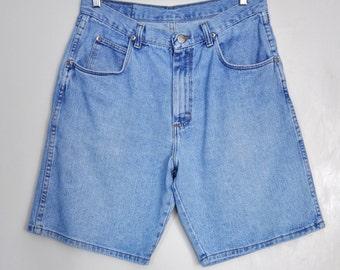 Vintage 90s denim shorts, Wrangler light wash denim shorts, high waist jean shorts, hipster shorts