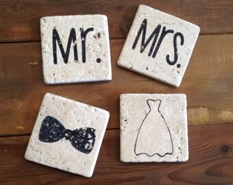 Mr. & Mrs. Tumble Stone Coasters (Set of 4)
