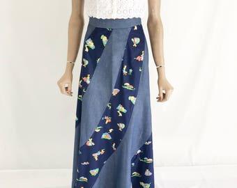 Vintage 70's Denim Hippie Boho Maxi Skirt