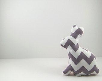 Plush Gray Chevron Easter Bunny Stuffed Animal Minky Baby Toy Pink