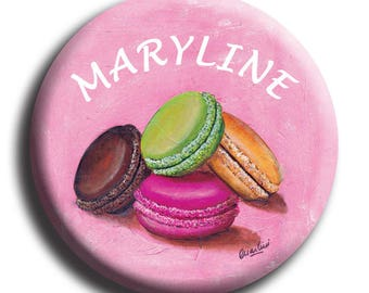 Button 4 macaroons background pink customizable diameter 50 mm