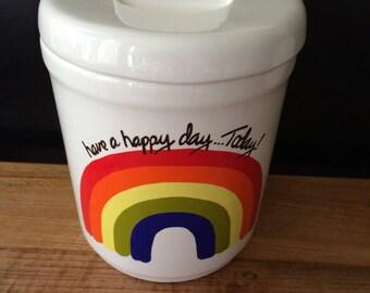Large Vintage Ceramic Rainbow Jar With Lid