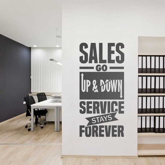 Service stays forever business quotes office wall art corporate office supplies office decor office sticker skusgu