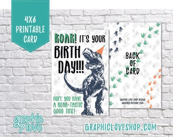 Printable 4x6 T-Rex Dinosaur Birthday Card - Folded or Postcard | High Res Digital JPG File, Instant Download, NOT Editable, Ready to Print