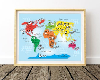 Adventure is out there large world map world map poster large world map world printable map world map kids room world map for kids nursery world map children gifts animal world map gumiabroncs Choice Image