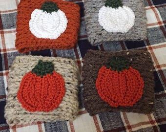 Updated Pumpkin Coffee Sleeve / Modern Pumpkin Wrap / Resuable Crochet Pumpkin Coffee Sleeve