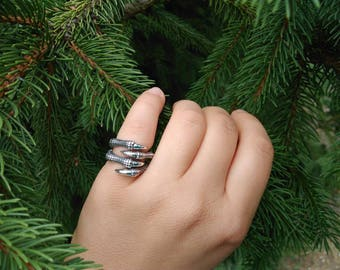 Dragon claw silver ring, claw ring, dragon ring, viking jewelry,  Steel Ring, Norse Mythology
